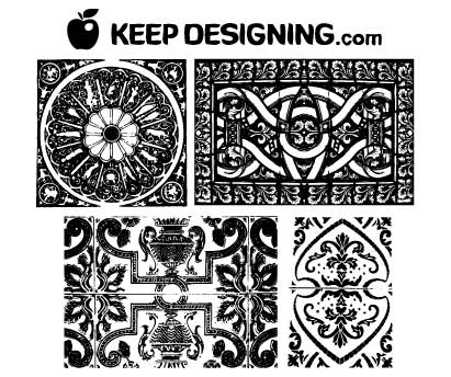 Click Here to Download Ornate Vintage Wallpaper Vector Patterns- Free