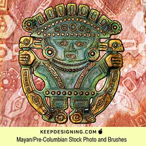 Mayan Pre-Columbian painted clay sculpture icon