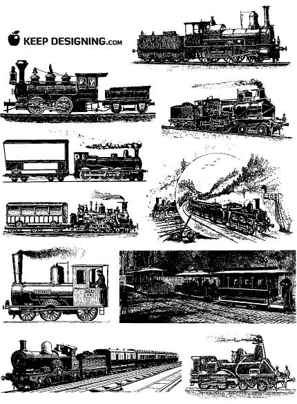 clip art train. free vintage vector art.
