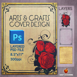 antique roses illustration cover design